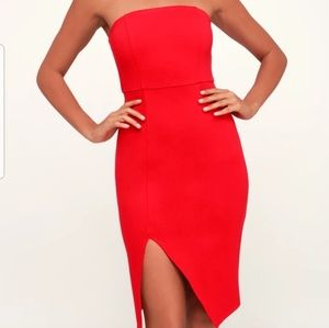 Lulus Red Strapless Bodycon Dress